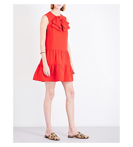 GUCCI Bow-detail dropped-waist wool and silk-blend dress (Hot