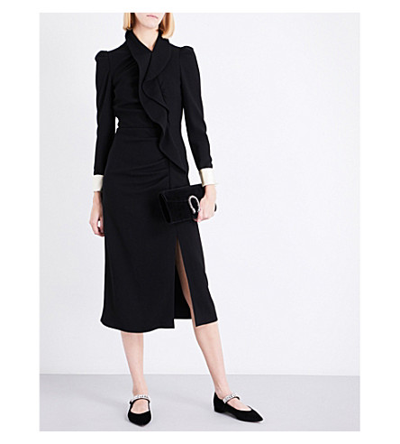 GUCCI Ruffled wool midi dress (Black
