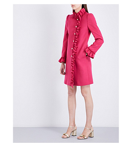 GUCCI Ruffle-trim wool coat (Bright+pink