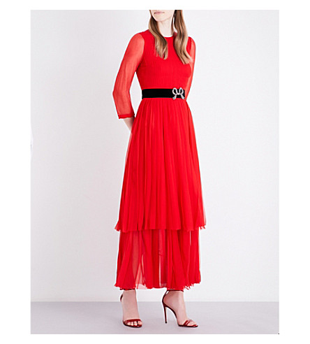 GUCCI Bow-embellished silk dress (Red