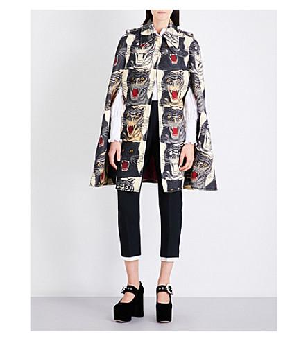 GUCCI Tiger-print wool cape (Multi
