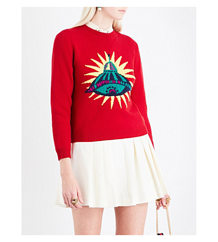 GUCCI UFO-knit wool jumper (Red/multi