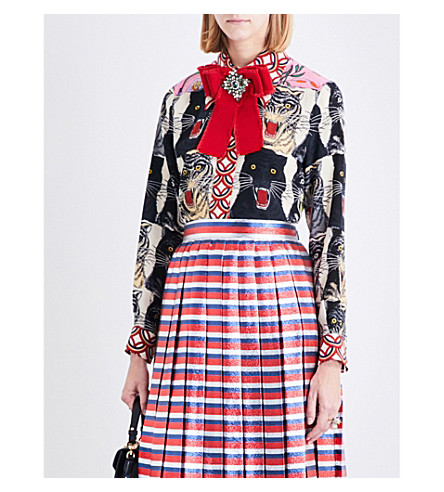 GUCCI Patchwork silk-crepe blouse (Tger+patchwork+print