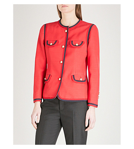 GUCCI Faux pearl-detail silk and wool-blend jacket (Red