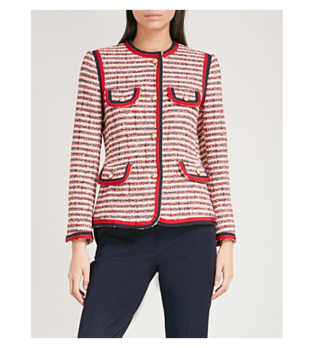 GUCCI Striped tweed jacket (White+tweed
