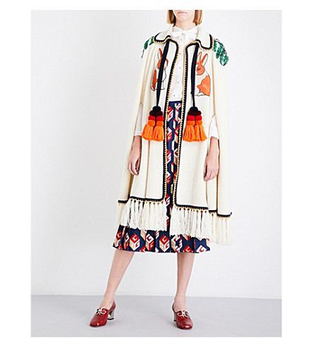 GUCCI Rabbit-embroidered wool and cashmere-blend cape (Ivory/+multi