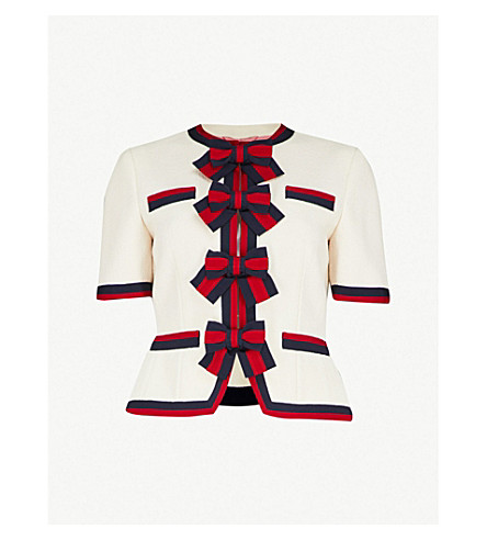 GUCCI Bow-detailed wool-crepe cardigan (White