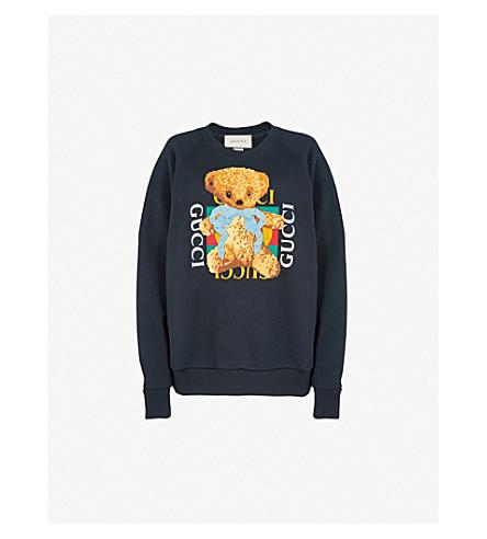 GUCCI Bear logo-motif cotton-jersey sweatshirt (Blue