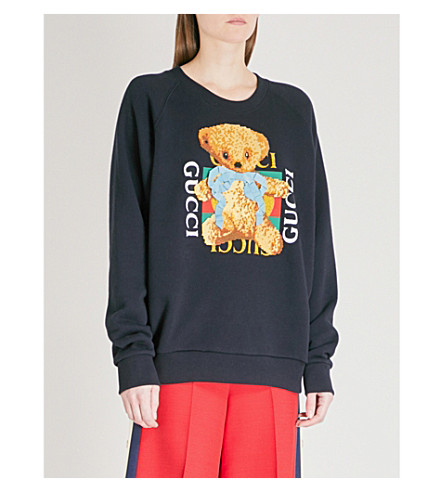 GUCCI Bear logo-motif cotton-jersey sweatshirt (Blue