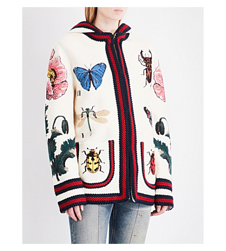 GUCCI Embroidered hooded wool-blend cardigan (Ivory