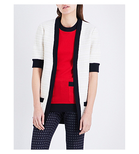 GUCCI Contrast-trim knitted cardigan (Ivory