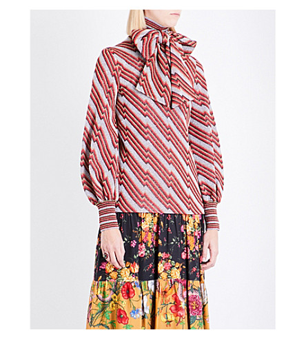GUCCI Pussy bow metallic zigzag wool jumper (Silver/red