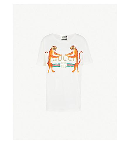 GUCCI Tiger-print cotton-jersey T-shirt (White
