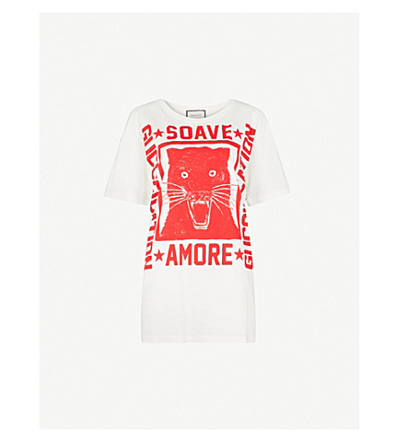 GUCCI Panther-print cotton-jersey T-shirt (White/red