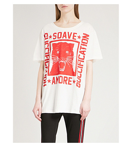 GUCCI Tiger-print cotton-jersey T-shirt (White/red