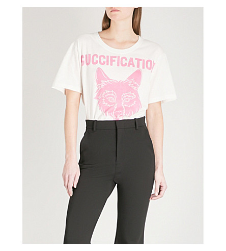 GUCCI Wolf logo-print cotton T-shirt (White/pink