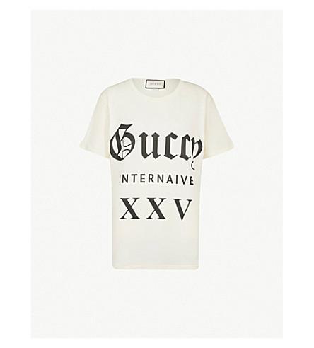 21b0c204 GUCCI - Guccy Internaive XXV cotton-jersey T-shirt | Selfridges.com
