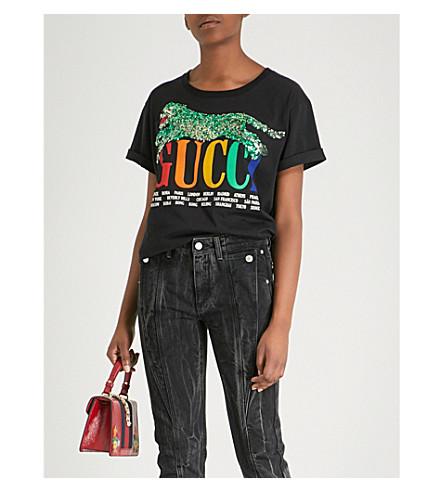 Panther-embellished cotton-jersey T-shirt
