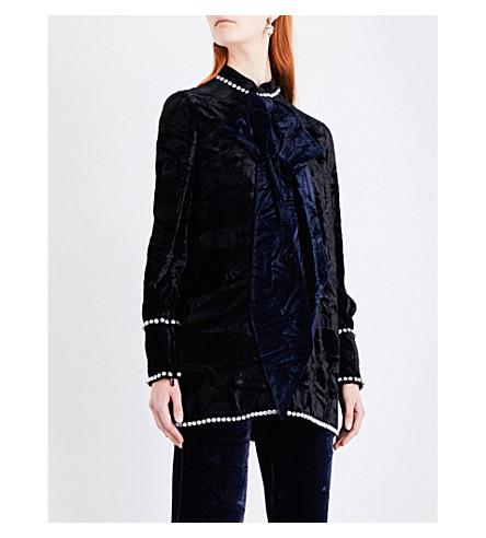 GUCCI Crystal-embellished velvet top (Black