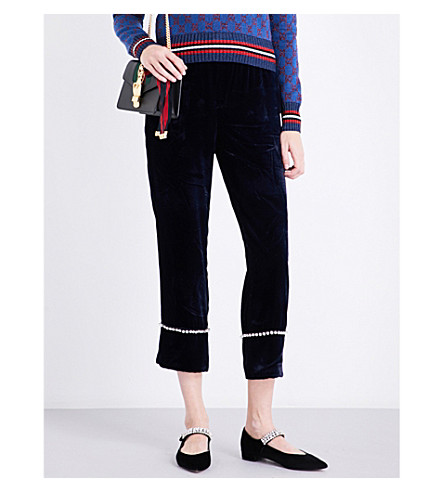 GUCCI Crystal-embellished straight velvet trousers (Dark+blue