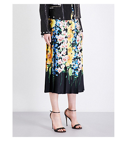 GUCCI Floral pleated silk-satin skirt (Black+multi