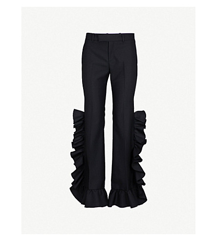 GUCCI Ruffled wide high-rise wool and mohair-blend trousers (Black