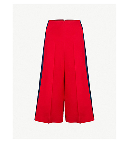 GUCCI Side-stripe wide-leg silk and wool-blend trousers (Red