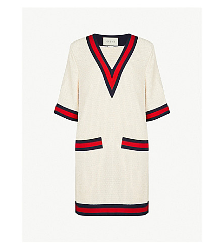 GUCCI Ribbon-trim tweed T-shirt dress (White