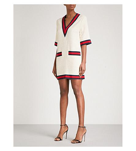 GUCCI Ribbon-trim tweed T-shirt dress (White