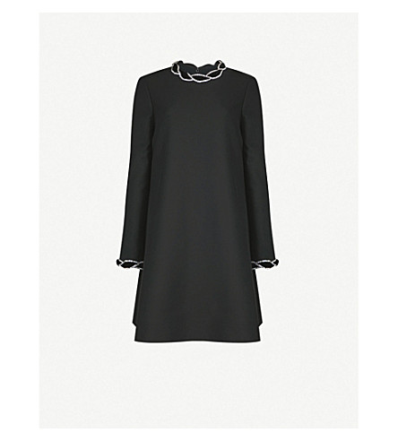 GUCCI Diamanté-embellished wool and silk-blend dress (Black
