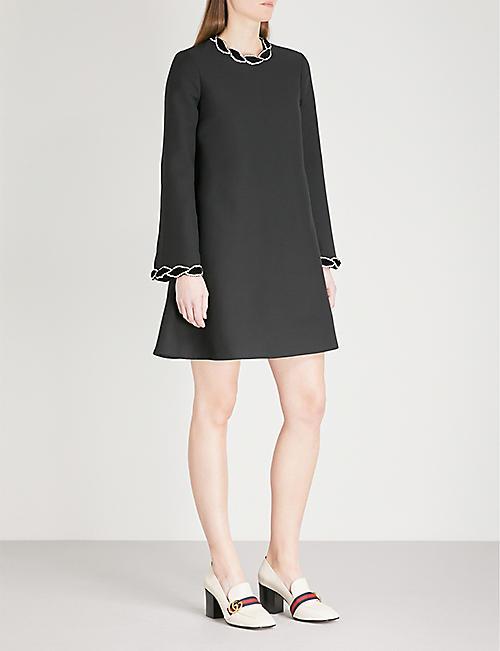 d1e69f3ff4bb GUCCI Diamanté-embellished wool and silk-blend dress