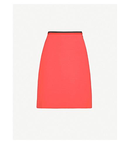 GUCCI Stripe-trimmed silk-blend mini skirt (Red