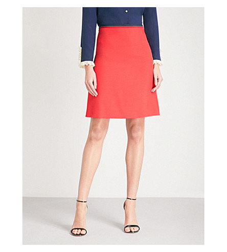 GUCCI Stripe-trimmed silk-blend mini skirt (Red