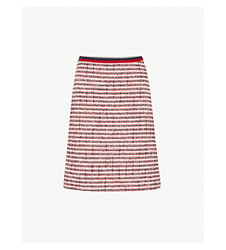 GUCCI Grosgrain-trim high-rise tweed skirt (White+tweed