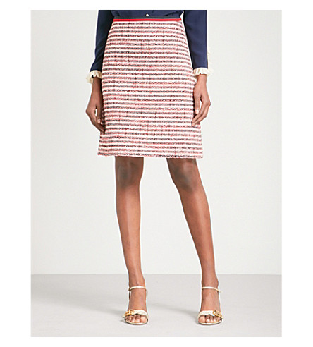 GUCCI Grosgrain-trim high-rise tweed skirt (White+tweed