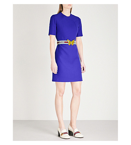 GUCCI Belted wool and silk-blend dress (Violet