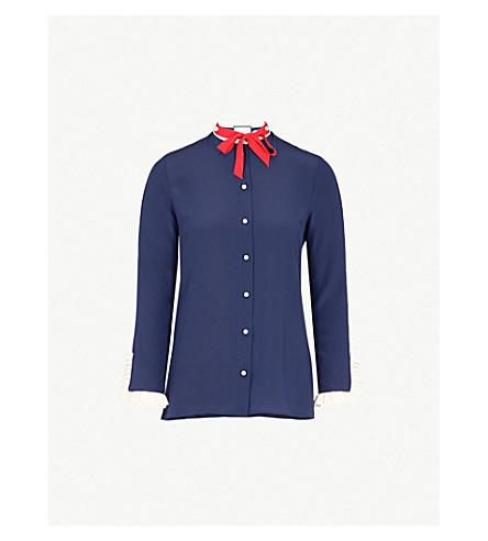GUCCI Necktie silk-crepe shirt (Blue