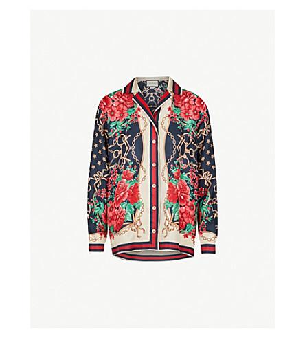 GUCCI Rose chain silk shirt (Multi