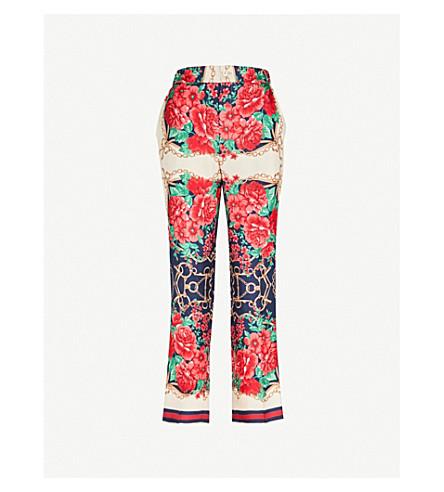 GUCCI Rose chain straight silk trousers (Multi
