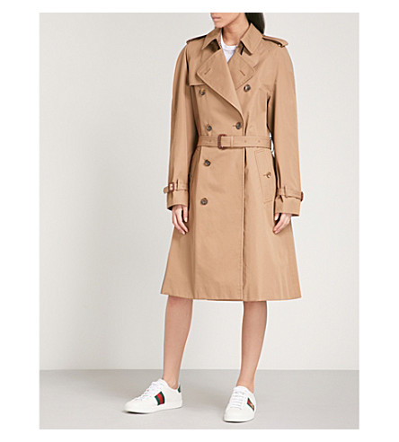 GUCCI Cat-embroidered cotton-blend trench coat (Beige