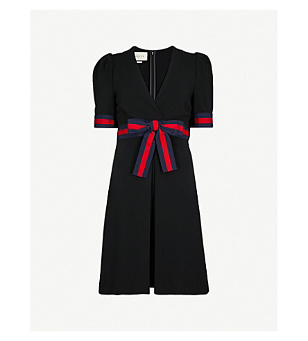 GUCCI Bow-embellished woven dress (Black