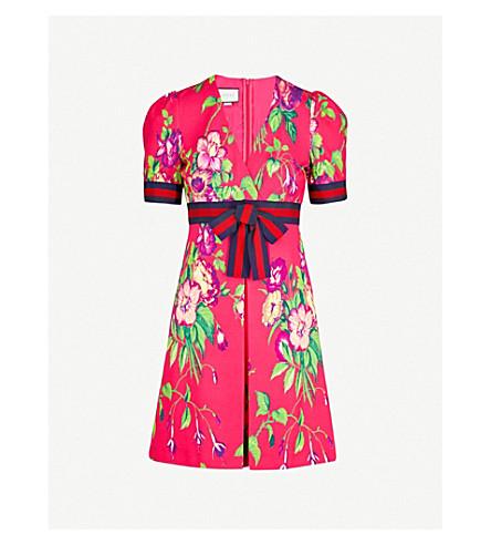 GUCCI Floral-print V-neck woven mini dress (Flower+prnt
