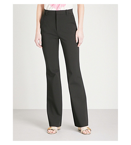 GUCCI Flared high-rise crepe trousers (Black