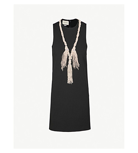 GUCCI Embellished stretch-crepe dress (Black