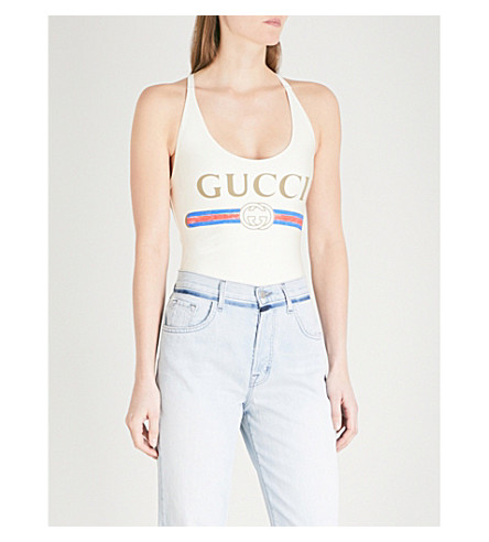 GUCCI Logo swimsuit (White