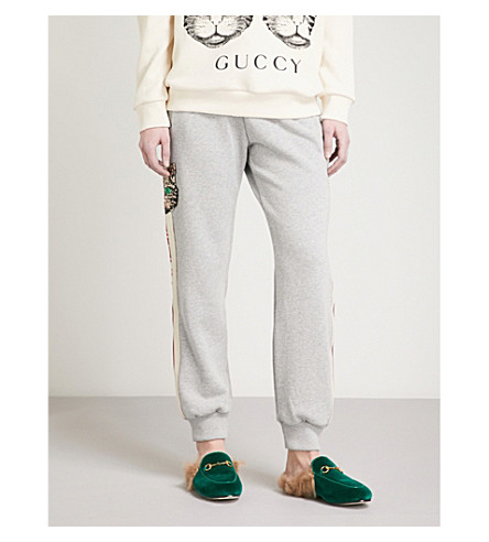 GUCCI Striped cat cotton-jersey jogging bottoms (Grey