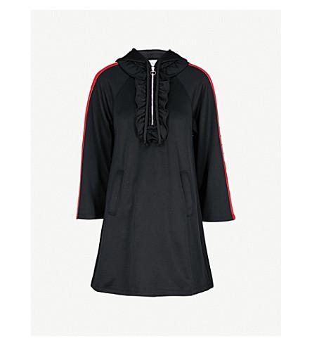 GUCCI 条纹袖连帽平纹针织面料连衣裙 (黑色