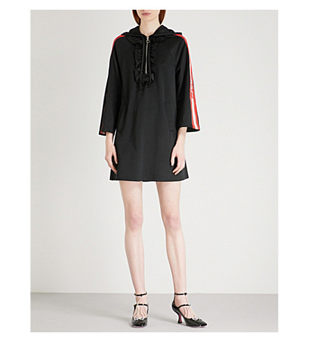 GUCCI Striped-sleeve hooded jersey dress (Black