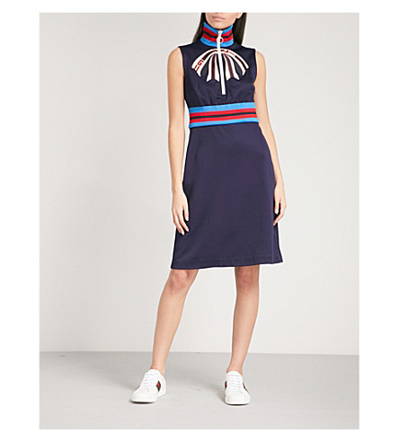 GUCCI Striped-trim woven dress (Navy
