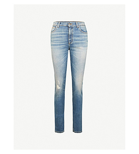 GUCCI Cat-patch distressed skinny high-rise jeans (Blue